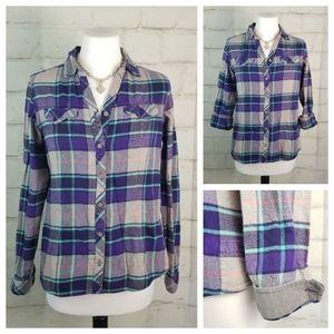 Columbia S Purple Plaid Flannel Shirt Flip-Cuff